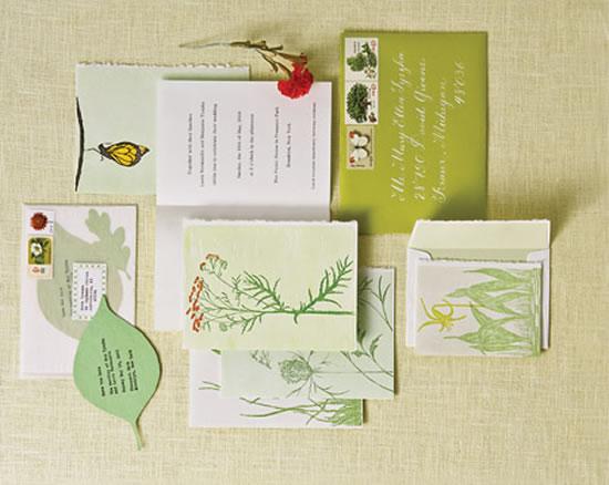 Convites de casamento em tom verde