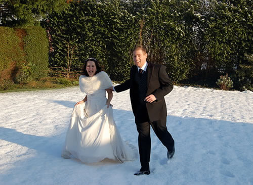 Vestido de noiva e fato do noivo