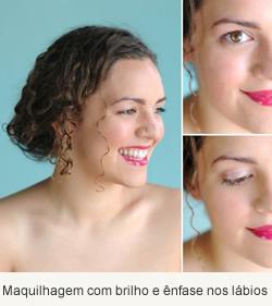 Maquilhagem com brilho e ênfase nos lábios