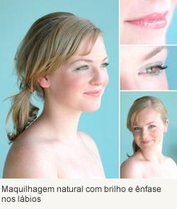 Maquilhagem natural com brilho e ênfase nos lábios