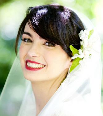 Noiva com cabelo castanho-escuro ou preto