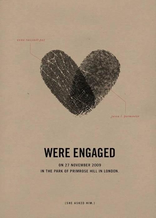 Convite de casamento personalizado com impressão digital