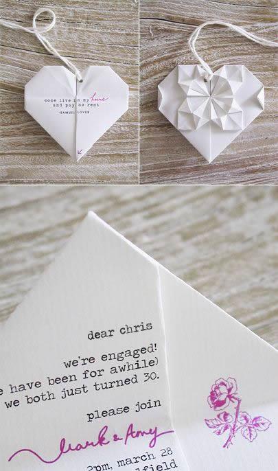 Convite de casamento em origami - coração