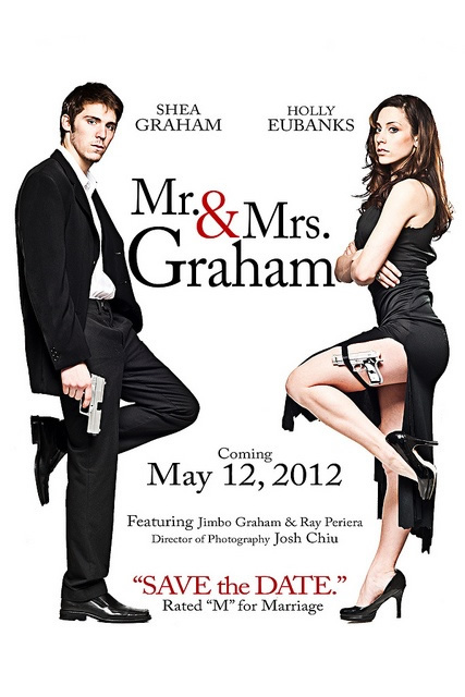 Convite de casamento estilo cartaz de cinema