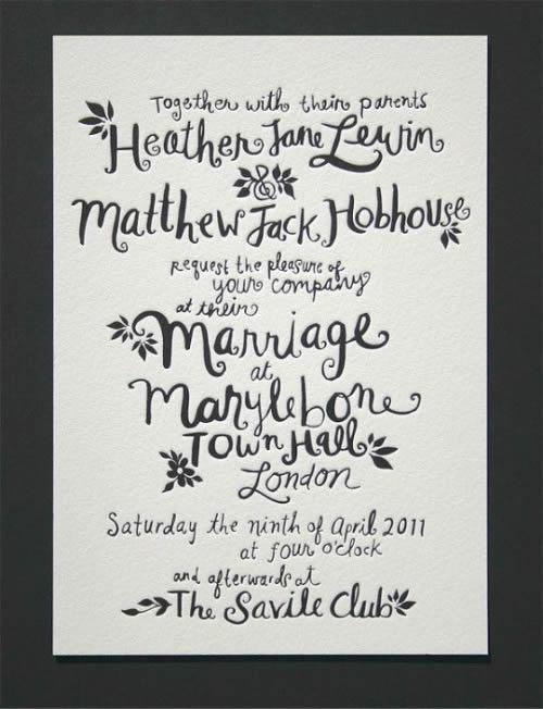Convite de casamento escrito à mão