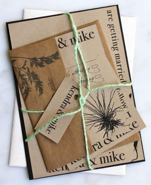 Convite de casamento ecológico - Papel reciclado
