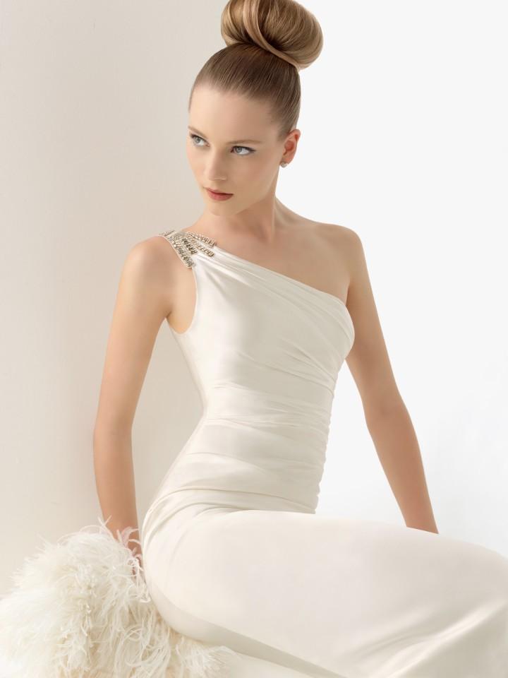 vestido de noiva assimétrico