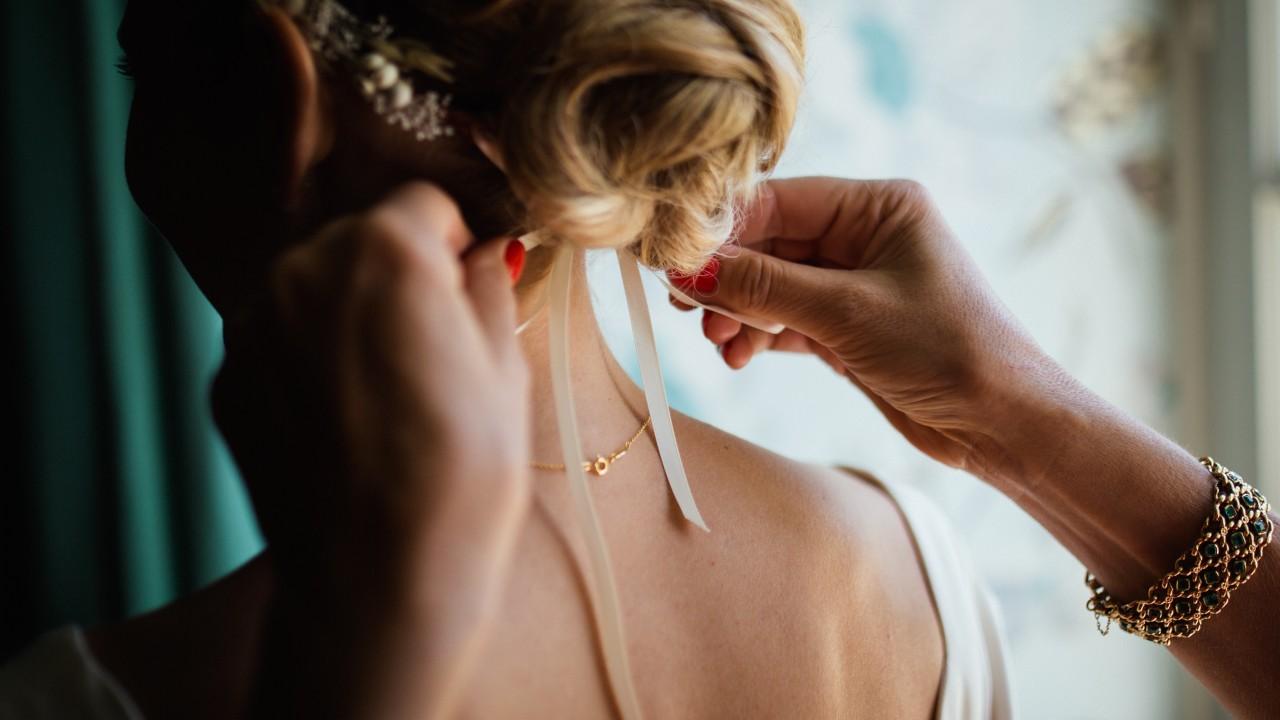 Penteado apanhado noiva